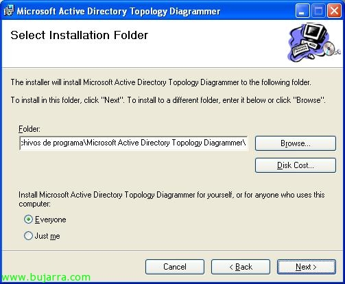 """select the installation directory, default: """"c:program archivesmicrosoft active  directory topology diagrammer"""", """"next"""","""