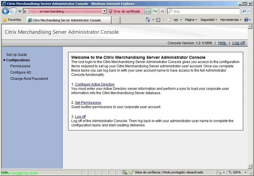 Citrix Merchandising Server configuration and client