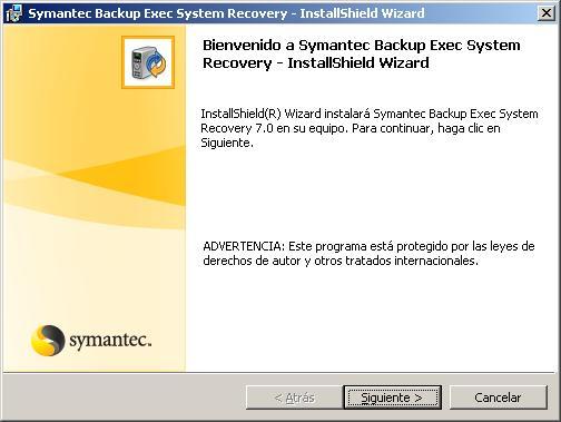 Instalación y configuración de Symantec Backup Exec System Recovery