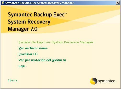 Instalación y configuración de Symantec Backup Exec System Recovery Manager