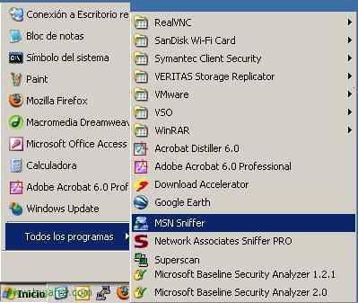 Usando MSN Sniffer: Sniffer de sesiones del MSN Messenger