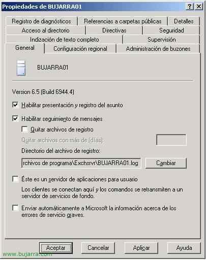 Habilitando el seguimiento de los mensajes en Microsoft Exchange 2003