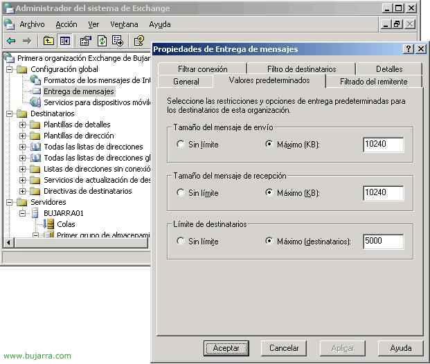 Configurando Límites en Microsoft Exchange 2003,
