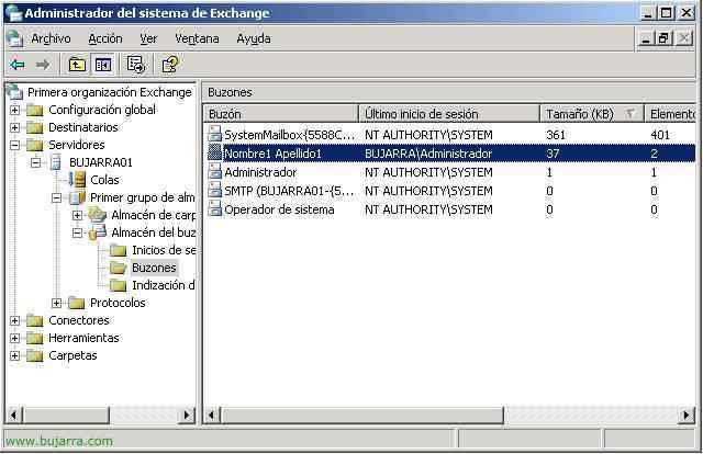 Configurando tamaño de buzones en Microsoft Exchange 2003