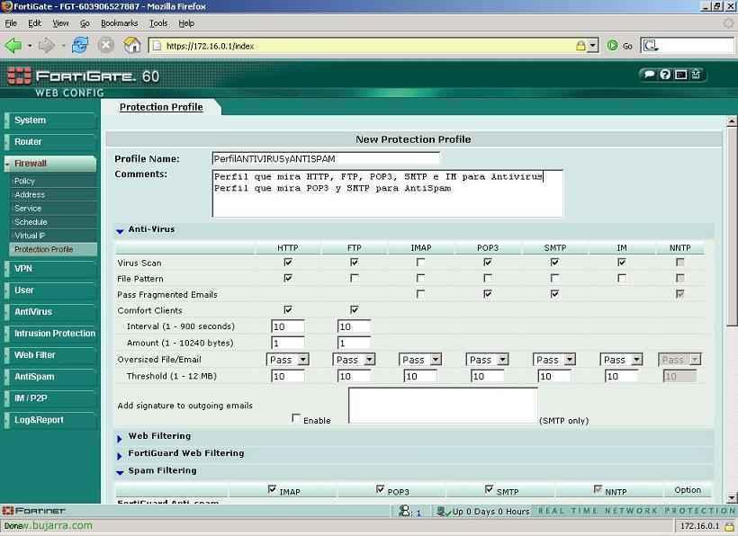 Crear un filtro AntiVirus, AntiSpam, Filtro de contenido palabras/webs, bloquear mensajeria instantanea o programas P2P mediante un Perfil de Protección o Protection Profile en Fortigate