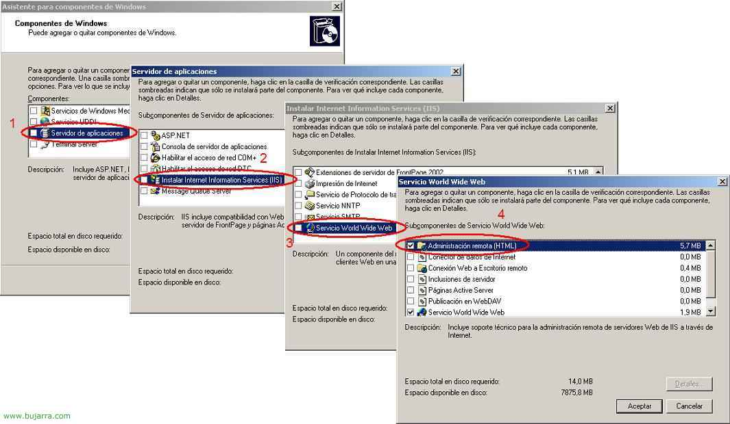 Uso de HTML Remote Administration Tools en Windows 2003