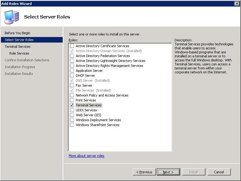 Instalación de los servicios de Terminal Server en Windows 2008