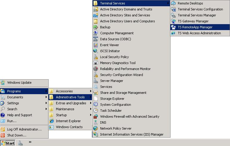 Configuración de Terminal Services RemoteApp Manager en Windows 2008