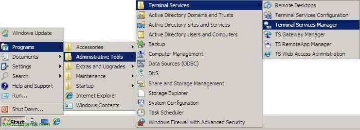 Configuración de Servicios de Terminal Server - Administrador de Terminal Services - Escritorios Remotos - Agente de sesiones de TS - Propiedades de RDP