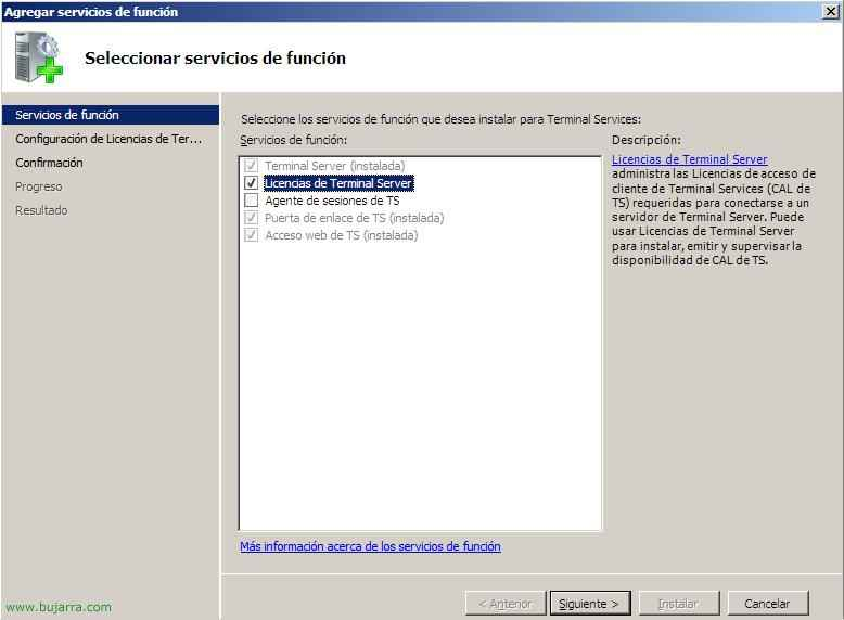 Instalación del servidor de licencias para Terminal Server en Windows 2008