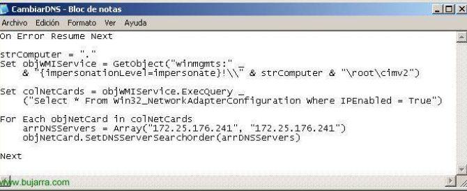 Cambiar los servidores DNS en los puestos mediante un script