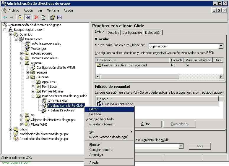 Configuración del cliente de Citrix usando directivas del Directorio Activo