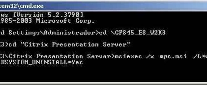 Desinstalar un Citrix Presentation Server o XenApp