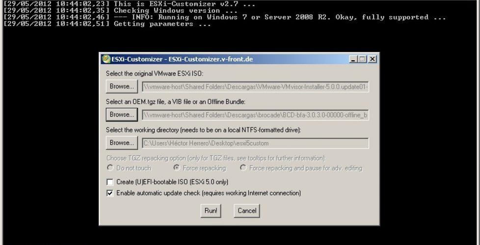 Uso de ESXi-Customizer para generar imágenes personalizadas de ESXi