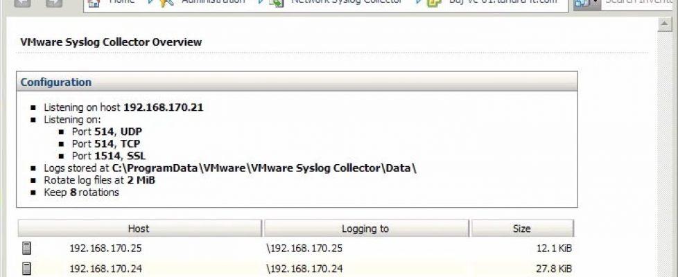 vmware syslog collector 16 bujarra