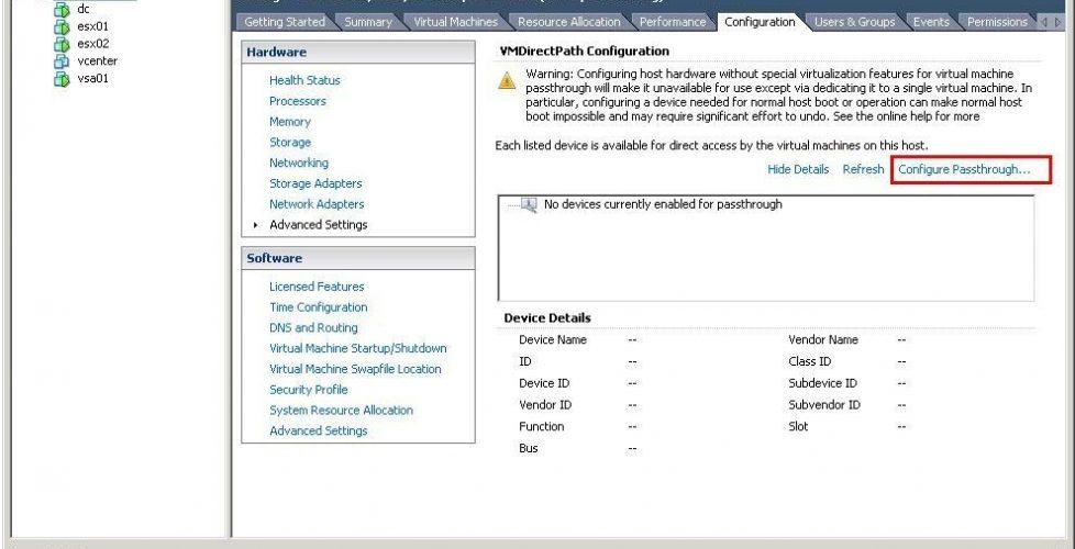 Configurando dispositivos físicos para máquinas virtuales en VMware