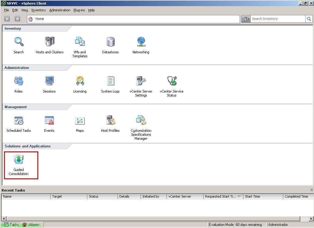 Uso de VMware Guided Consolidation