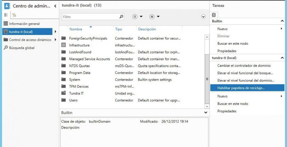 Habilitar la papelera de reciclaje en el Directorio Activo de Windows 2012