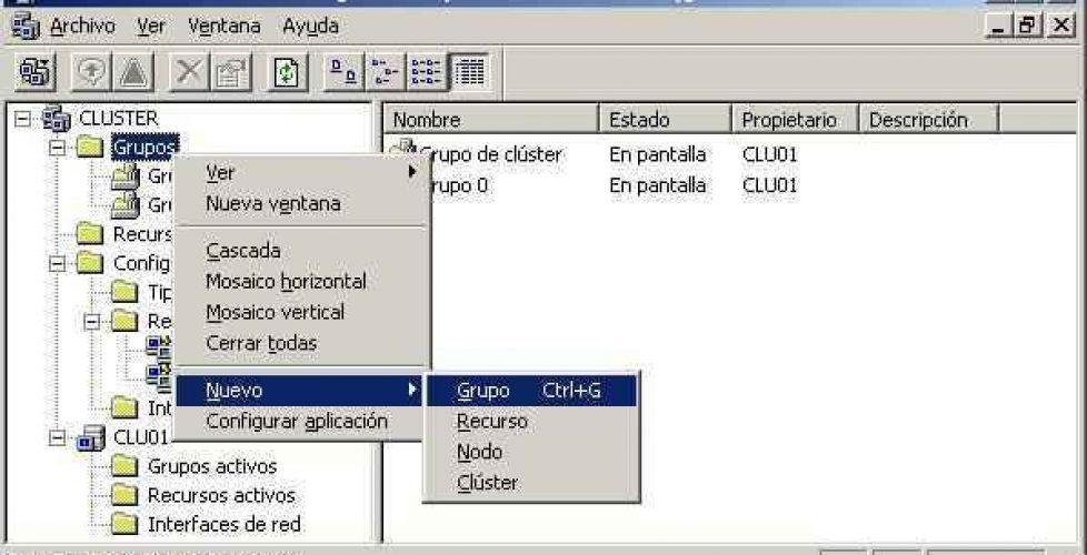 Configurando un cluster en Microsoft Exchange 2003