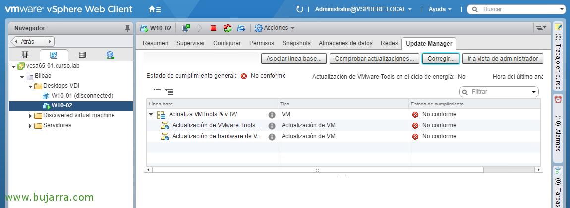 Actualizando VMware Tools y virtual hardware en las MVs con
