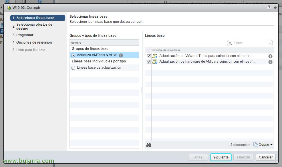 Actualizando VMware Tools y virtual hardware en las MVs con vSphere Update Manager 6.5