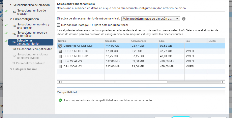 Uso de Storage DRS en vSphere 6.5