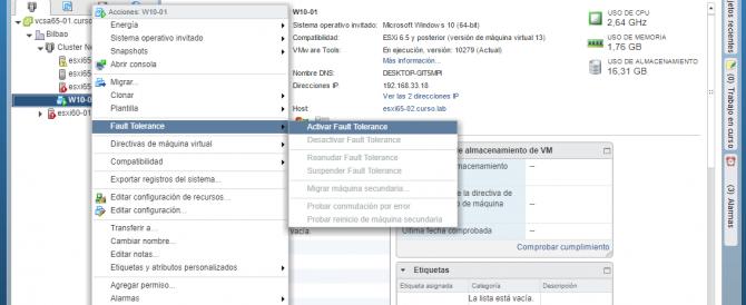Habilitando Fault Tolerance en VMware vSphere 6.5