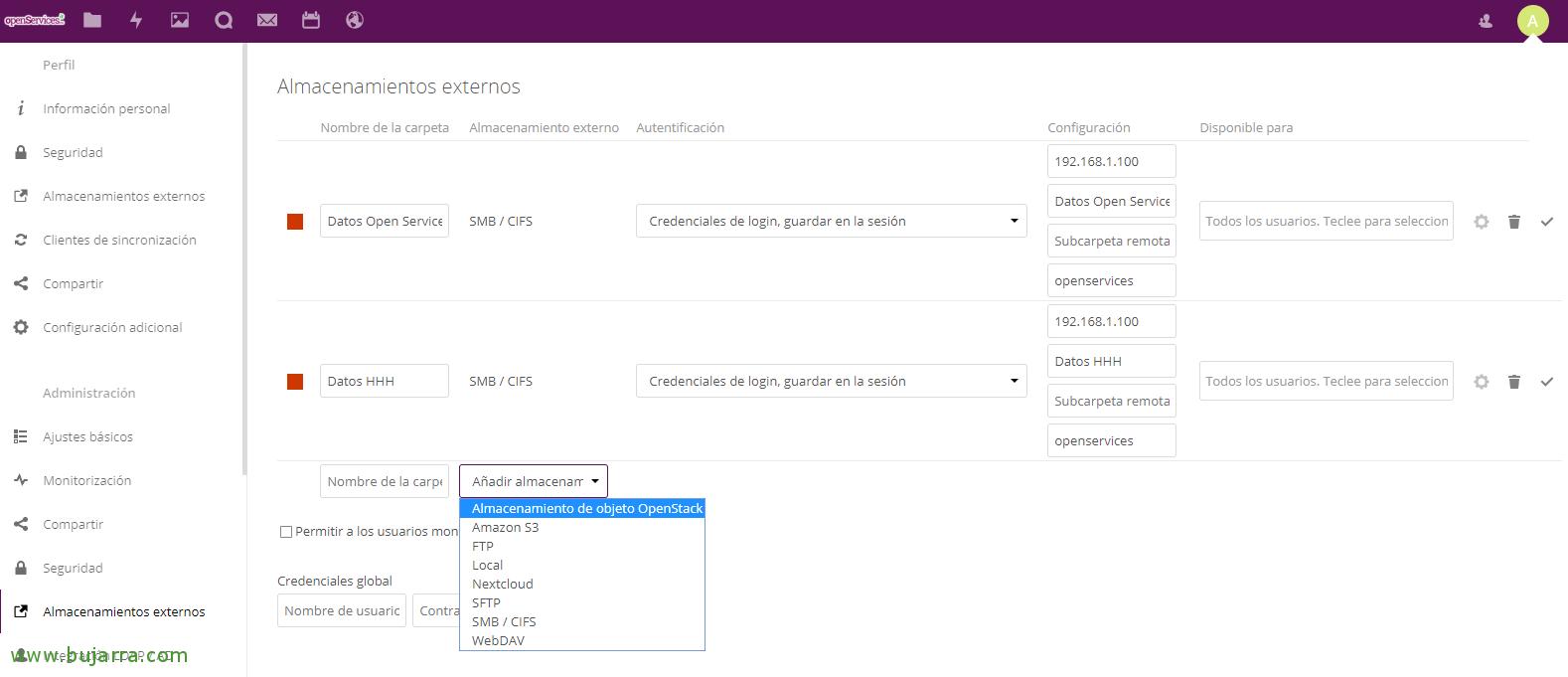 Enabling access to external data Nextcloud | Blog Bujarra com