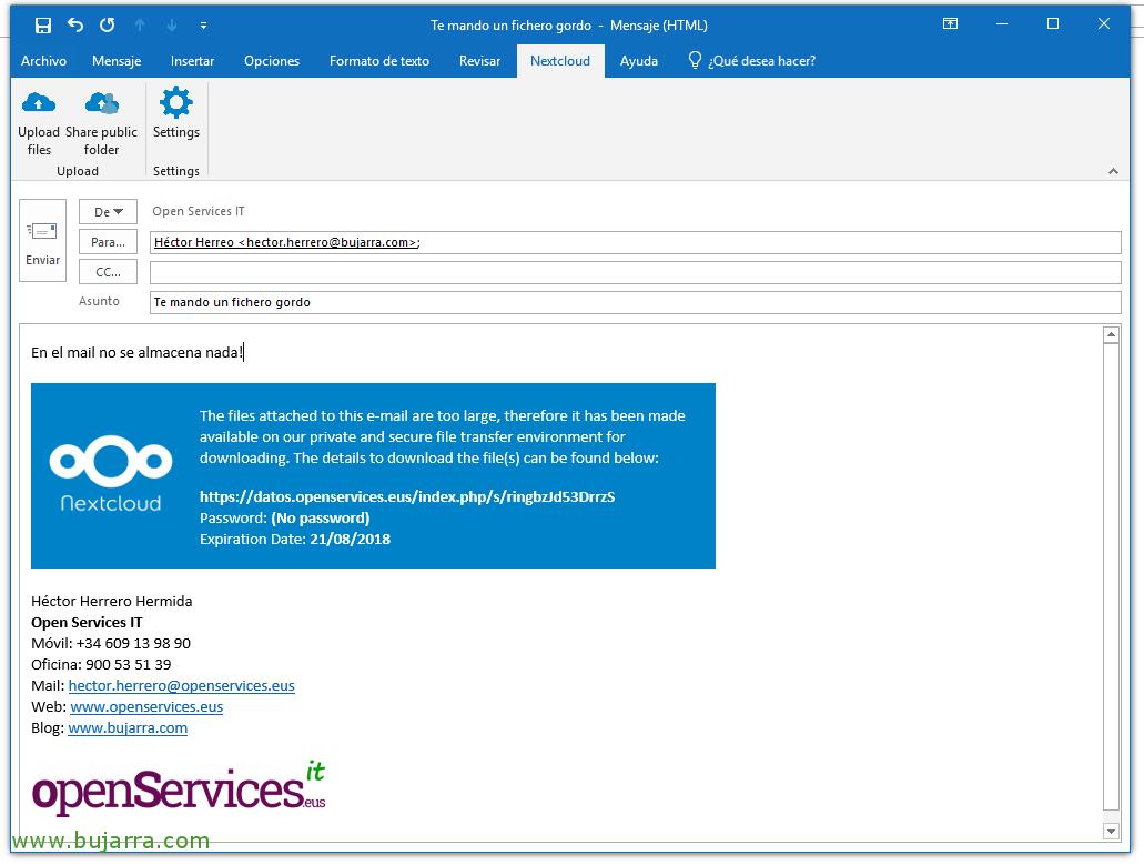 Nextcloud Add-In gratuito para Outlook | Blog Bujarra com