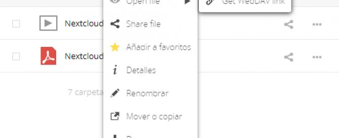 Habilitando el Click derecho en Nextcloud
