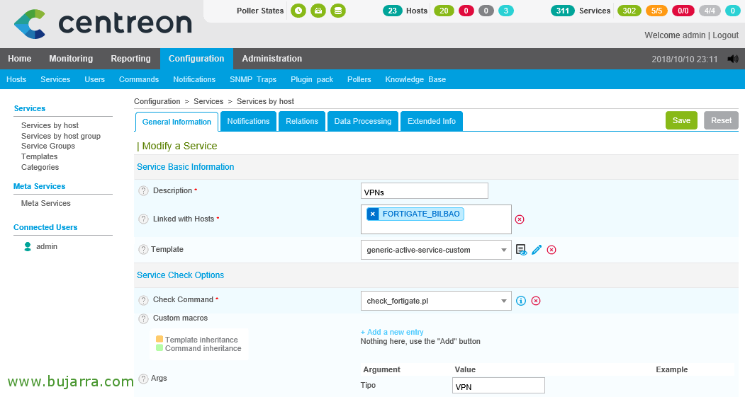 Monitorizando un firewall Fortigate desde Centreon | Blog Bujarra com