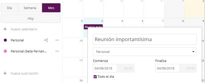 Gestionando el calendario desde Nextcloud