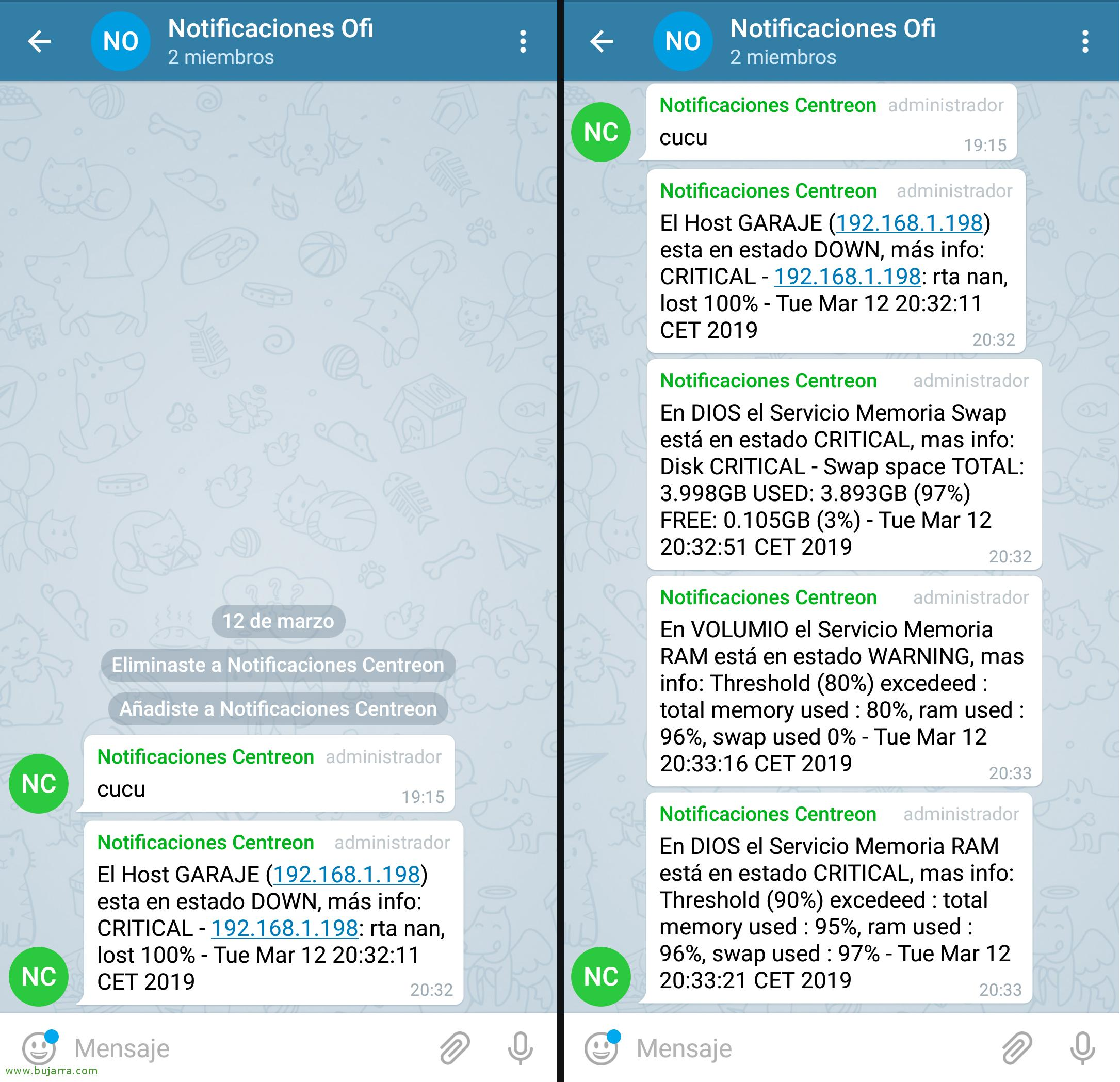 Telegram enabling notifications in Centreon | Blog Bujarra com